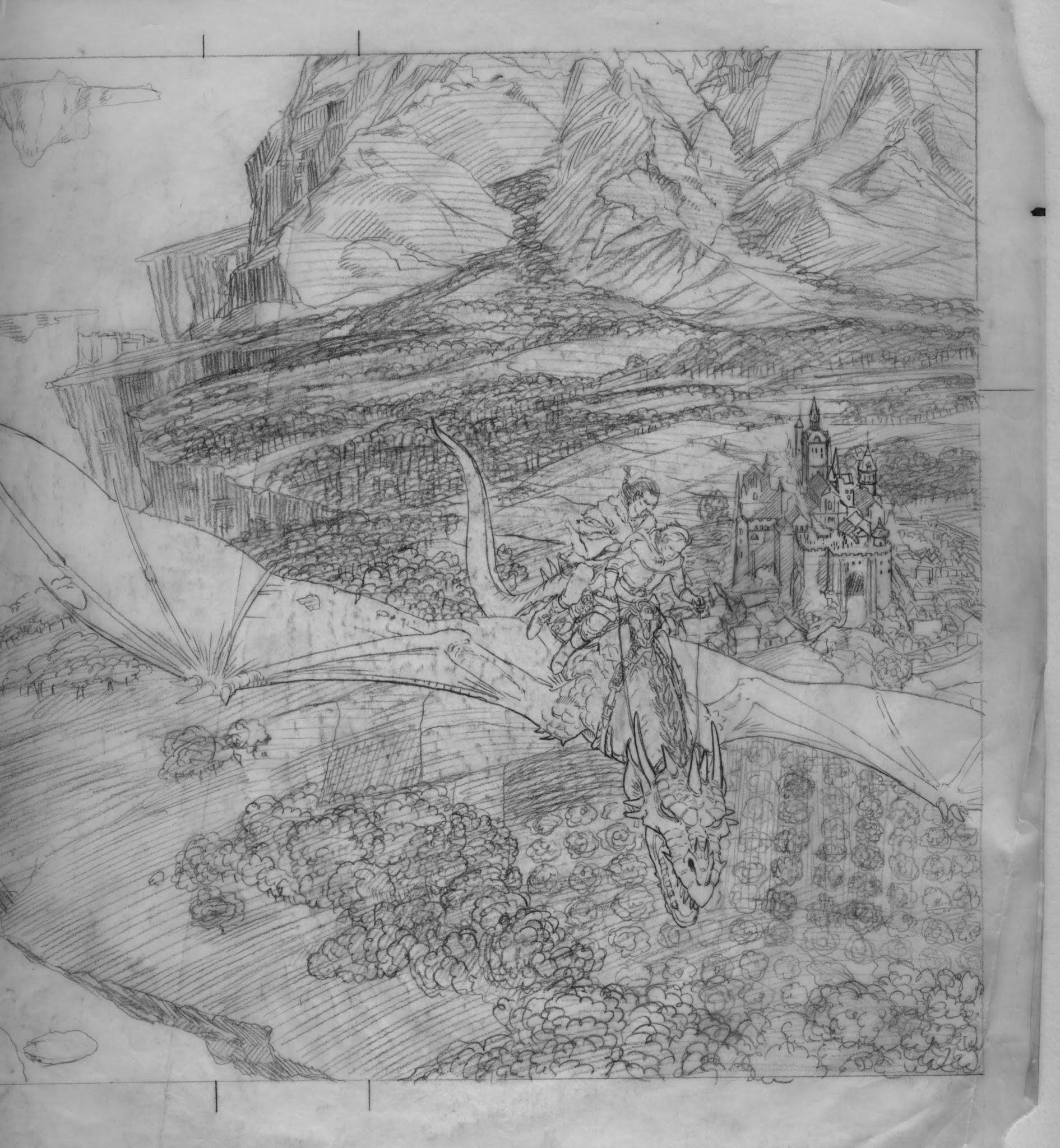 Original pencil sketch with dragon